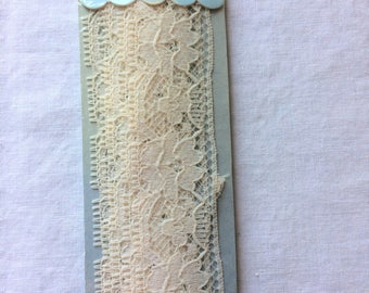 """Vintage New Beige Lace Trim 1-1/8"""" wide x 1-1/2 yards long by Wrights"""