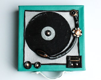Retro Art, Teal Mini Record Player, Wall Decor, Featuring Tiny Record and Pieces Made Of Clay, Mixed Media, Thick Canvas