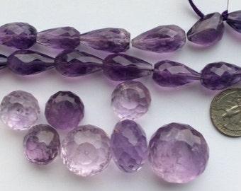 Amethyst  Faceted Teardrop beads - 15 pcs