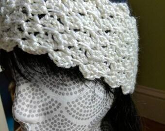 White Crochet Ear Warmer - Textured Women Teen Stretchy