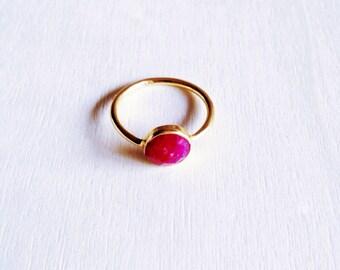 Quartz gold ring, gold plated silver ring, minimal ring, stacking ring