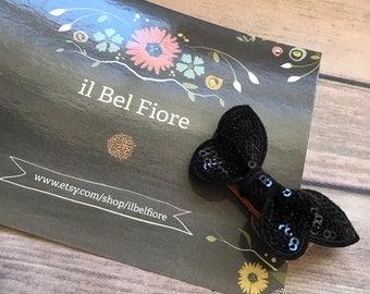 Black Bow Hair Clip, Hair Barrette, Baby Infant Child Toddler Girl Hair Clip, Hair Flower, Clip On Flower, Flower Hair Clip