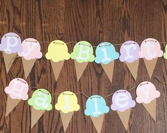 Happy Birthday ice cream party banner in pastel colours