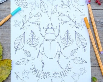 Beattle print adult coloring, printable woodland coloring,download print, download coloring leafs page, digital download