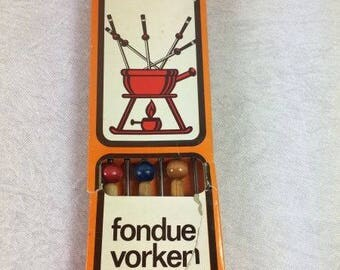 Vintage Fondue Forks Set Colorful Wooden Fondue Forks Retro Fondue Fork Set
