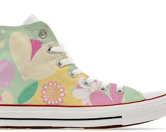 flower illustration girly  custom converse high top shoes