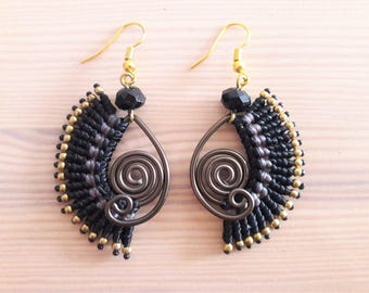 Black Crystal, Black Wire Earrings, Boho Earrings, Macrame Earrings, Thai Earrings, Gift for Her, Women, Girls, Artisan Jewelry, Black Love