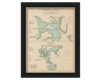 Greenwich, Apponaug, & Wickford, Rhode Island - Nautical Chart by George W. Eldridge 1901 Color