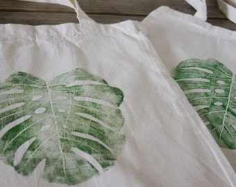 Monstera leaf // Hand printed Tote Bag 100% cotton