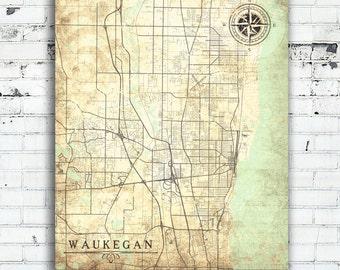 Waukegan map Etsy