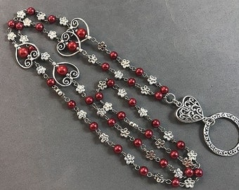 Red Hearts Lanyard, Hearts & Flowers Lanyard, Red Silver Badge ID Holder, Lanyard ID Holder, Beaded Lanyard, Breakaway option