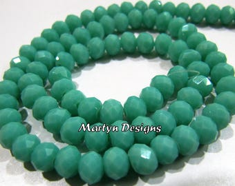 SALE- AAA Quality Amazonite Hydro Quartz 6mm Size Beads , Length 17 inches , approx. 100 Beads per Strand , Rondelle Faceted Amazonite Beads
