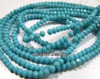Best Quality Amazonite Hydro Quartz 3-4mm Size Beads , approx. 150 Beads per Strands- Rondelle Faceted , Length 15-16 inches , Jewelry Beads