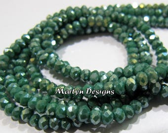Beautiful Mystic Coated Green Onyx 3mm Size Beads , Hydro Quartz Rondelle Faceted Beads , Length 12.5-13 inches , Jewelry Beads - Wholesale.
