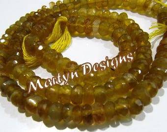 Top Quality Natural Yellow Chalcedony 5-10mm Size Beads , Graduated Chalcedony Beads , Length 12 inches  , Rondelle Faceted Gemstone Beads.