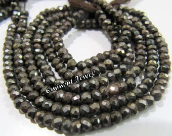 100% Natural and Genine Brown Coated Black Spinel Beads , Micro Faceted 3.5-4mm Size Black Spinel Gemstone Beads , Length 13 inches long