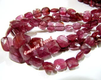 """Top and Finest Quality Amazing Ruby Gemstone Beads , Faceted Cushion Shape Natural Ruby Beads , Briolettes 10-12mm Size Beads, Length 10-11"""""""