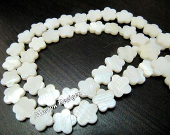 Mother Of Pearl Star Shape Beads , Natural Pearl Beads , Flower Shape Pearl Beads , 16 inches Long Strings , approx. 35 Beads per String