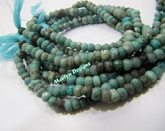 AAA Quality Natural Chrysocolla Beads / Rondelle faceted Beads Size 5-6mm /Sold per Strand of 13 Inches Long/ Finest Quality Unique Gemstone