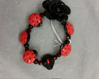 Bracelet Button Flower Ladybug Red Black