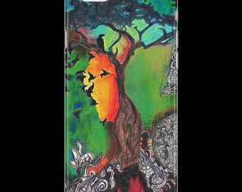 Orange and Green Tree and Birds iPhone/Samsung Galaxy Case