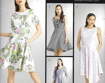 Misses/Misses Petite Flared Dress, Project Runway, Sizes 4 Thru 12,  New Simplicity 8048