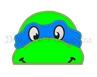"Turtle hooded towel peeker applique machine embroidery design for 5x7"" hoop"