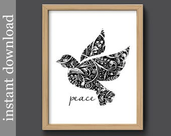 Peace printable, Dove of Peace, Christmas dove, dorm art, black and white, dove wall art, inspirational, peace print, download, world peace