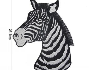 Zebra Patch,1 pieces Big Zebra Embroidered Applique Patch,High Quality Zebra Patch,Zebra Applique for Garment