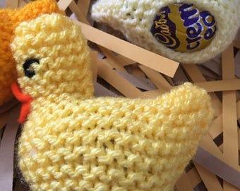 3 creme egg covers, Easter chick egg holders, easter egg hunt, cover for cream egg, knitted chicks, Easter wedding favours, easter gift