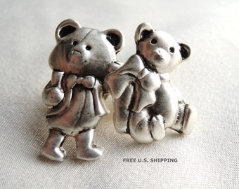 Teddy Bear Lapel Pin Set of Two Pins