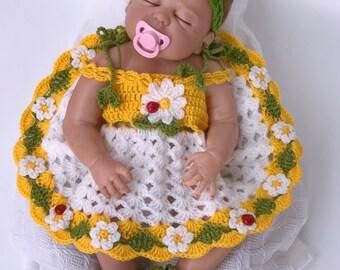 Baby dress, Crochet headband, Crochet shoes, Crochet cardigan, White baby dress, Girls Clothing, Flower baby girl dress, baby shower gift,