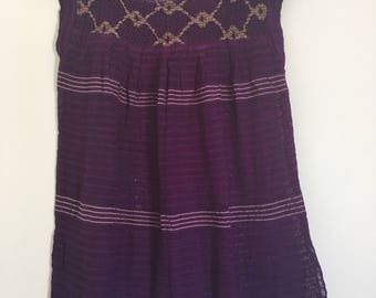Traditional Mexican purple Blouse of loom with details