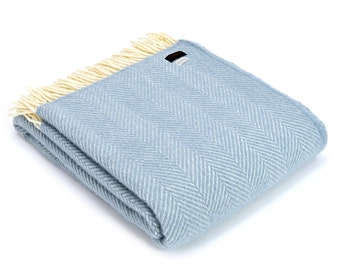Duck Egg Blue Fishbone Wool Blanket