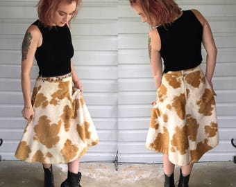 Vintage 1970s Handmade Faux Cow Print High Waisted Midi Skirt size S/M