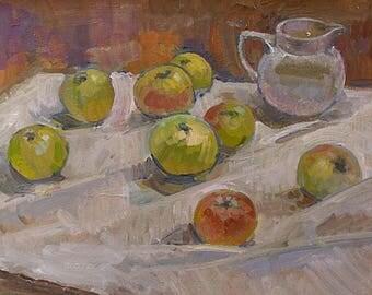 Pat (Patricia) Algar Original Oil Painting - Still Life - Apples And A Jug