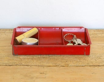 Vintage metal tray cash register insert red.Desk organizer.Industrial tray.Catchall.Red metal tray.Jewelry organizer.Desk storage box