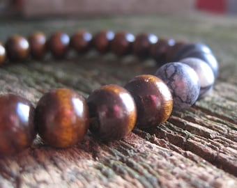 Wood and Stone Beaded Bracelet