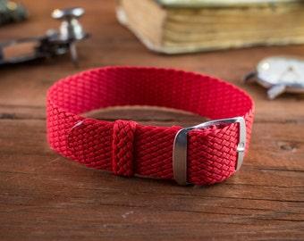 Red perlon strap ( 18mm ) waterproof nylon strap, watch strap, watch band, perlon band