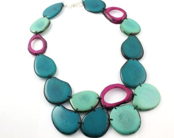 Tagua Necklace, Statement Bib Necklace, Gift ideas, Bold Jewelry, Ecofriendly jewelry, Beaded unique necklace, Gift women, Boho jewelry