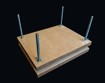 Book Press and Sewing Frame 2-in-1 for Bookbinding With Hooks for Cord Adjustment