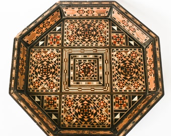 Moroccan tea tray or plate - Octagonal wooden bowl with beautiful intarsia as wall decor