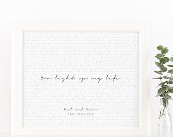 PRINTABLE Valentine's Day Gift Wedding Vows Keepsake Print for Newlyweds & Anniversaries - You Light Up My Life