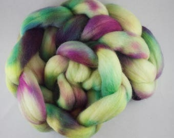 Hand Dyed Spinning fiber top, hand dyed wool, wool roving, Corriedale, yellow, pink, blue, purple, 100g