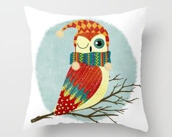Owl Pillow Animal Decor Christmas Decorations Christmas Pillow Christmas Decor  Owl Throw Pillow Cute Christmas Pillow Christmas Gifts
