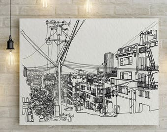 San Francisco View from Russian Hill Doodle Print