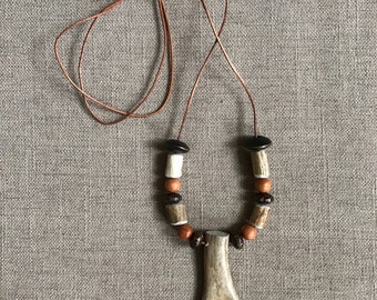 Antler 2 Point Pendant, with Wood Beads, on Leather Cording