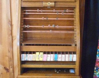 Railroad Collectible, Antique Roll Top Railroad Ticket Cabinet, Railway Ticket Cabinet Case, Oak Railroad Memorabilia Display Case