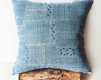 Mali Pillow   hand pressed block print textile, linen pillow case, mud cloth print
