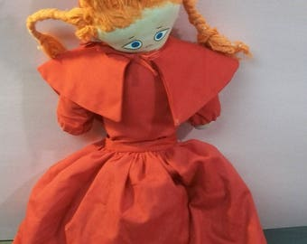 """Little Red Riding Hood Flip Cloth Doll Red Riding Hood,Wolf,,Grandma In Long Dresses 17"""" Tall Doll Has Broken Stuffing In Neck Needs Repair"""